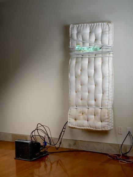 Pier Paolo Calzolari,Untitled (l'aria vibra),1970, melton, refrigerating unit and copper pipes, neon, transformer, lead,67 x 30 x 10 inches