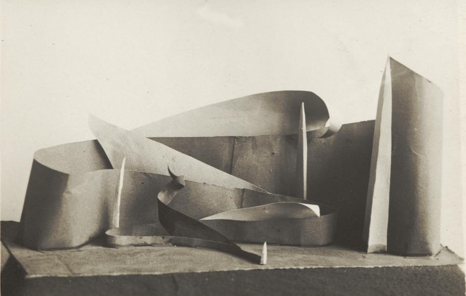 VKhUTEMAS, Model Construction Studies, c. 1925, vintage gelatin silver print, 1 ½ x 2 inches