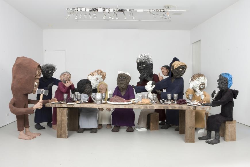 Will Ryman, Dinner Party, 2010, mixed media, 118 × 195 × 84 in.