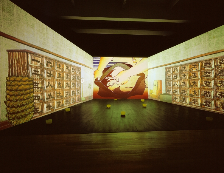 Tabaimo, Japanese Bathhouse, 2000, three-channel video installation (color, sound), yellow bath bowls, and synchronizer, dimensions variable, 7:34 min.