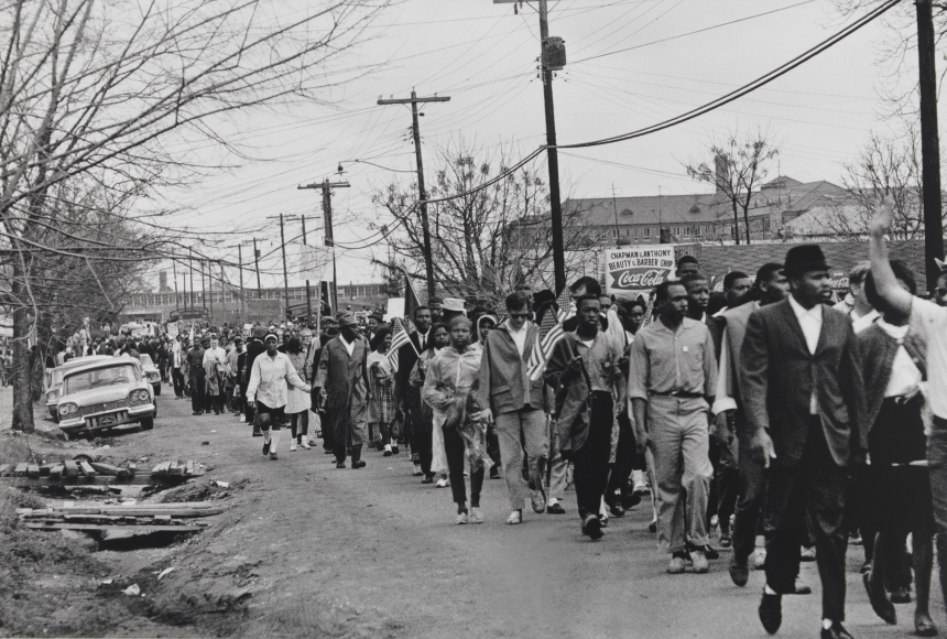 Stephen Somerstein, Selma Civil Rights Marchers Leaving Camp Grounds at City of St. Jude School. Back Road behind School, on Way to Capital, March 25, 1965, 1965, gelatin silver print, 11 1/4 × 16 7/8 in.