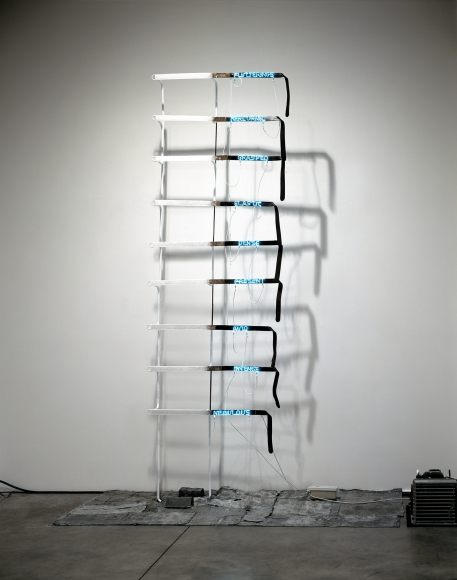 Pier Paolo Calzolari,Untitled (Cinghie),1971, leather, refrigerating unit and copper pipes, neon, transformer, lead,130 x 59 x 14 inches