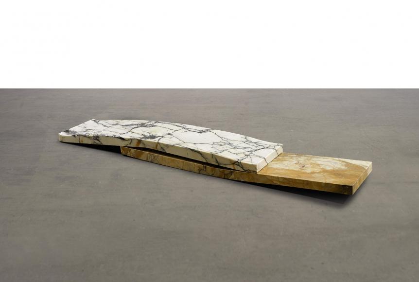 Luciano Fabro,Gli Amanti (nudi),1987-1988,marble, in two parts,7 x 97 x 17 ¾ inches