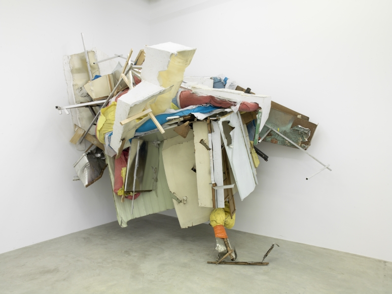 Peter Buggenhout, On Hold #3, 2015, mixed media (aluminum, wood, etalon, plastic, iron, textile, and polyurethane foam), 115 3/8 × 135 3/4 × 90 1/2 in
