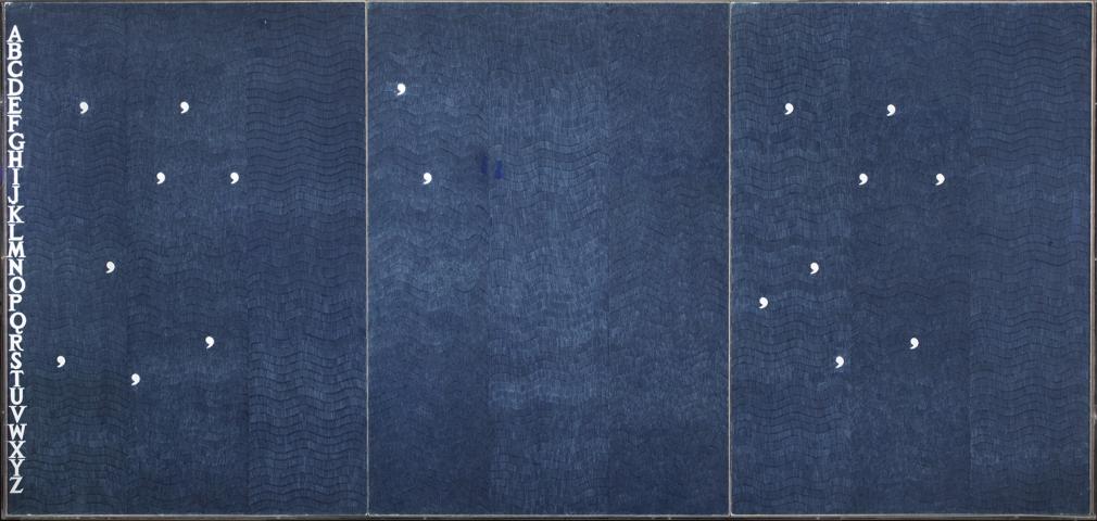 Alighiero Boetti,Sentieri di Pensieri (Paths of Thought),1982, biro on paper in three parts,39 3/8 x 82 11/16 inches