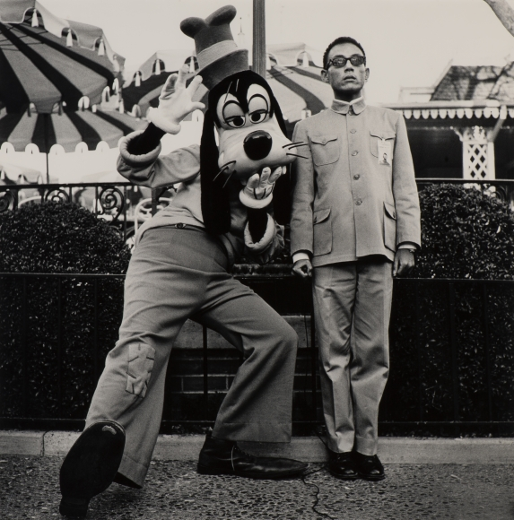 Tseng Kwong Chi,Disneyland, CA,1979, vintage gelatin silver print, 36 x 36 inches