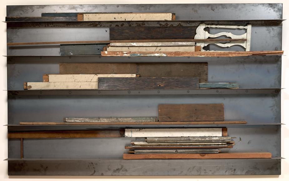 Jannis Kounellis,Untitled,1983,wood assemblage, metal shelf,58 x 95 x 7 inches