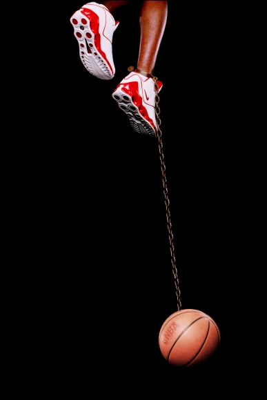 Hank Willis Thomas,Basketball and Chain,2003, digital C-print, 96 x 50 inches