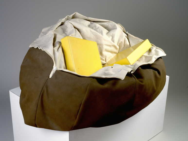 Claes Oldenburg,Soft Baked Potato, Open and Thrown, Scale A, 1970, canvas and wood,16 x 41 x 32 in.