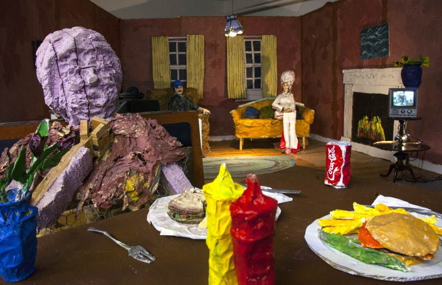 Cate Giordano, After the fire is gone, 2017, three sets (including mixed-media sculptures and vintage TV monitors) and fourteen-channel video (color, sound), dimensions variable