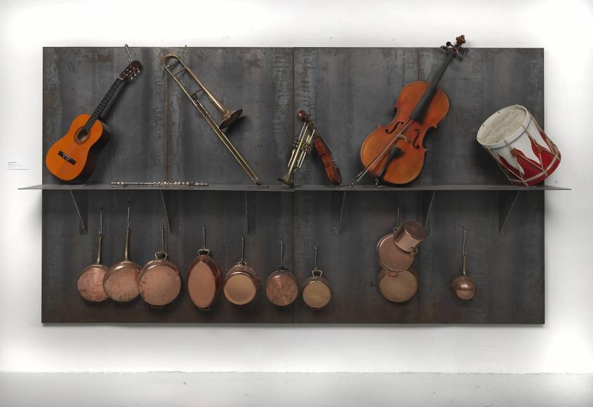 Jannis Kounellis,Untitled,1993,steel panel, musical instruments, copper pots, hooks,79 x 142 x 20 inches