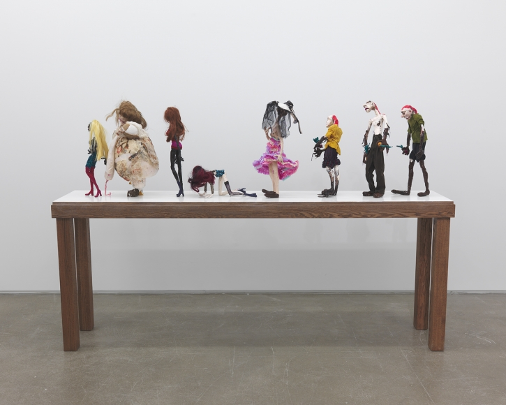 Nathalie Djurberg and Hans Berg, Puppets from the Parade of Rituals and Stereotypes 2, 2012, mixed media, 61 × 17 ¾ × 90 ½ in.