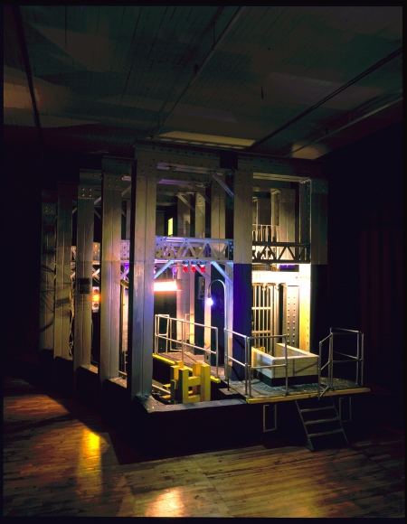 Donna Dennis, Subway with Silver Girders, 1981–82, wood, metal, electric lights, and mixed media, 144 1/2 × 144 1/2 × 159 in.