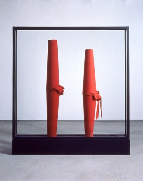 Erwin Wurm, untitled, 1988–89, cloth, wood, and glass, 78 3/4 × 78 3/4 × 15 3/4 in.
