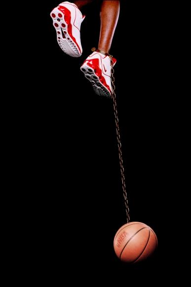Hank Willis Thomas, Basketball and Chain, 2003, digital C-print, 96 × 50 in.