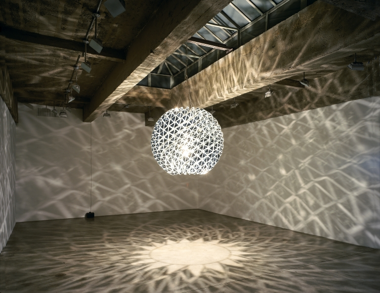 Olafur Eliasson, Inverted Berlin Sphere, 2005, stainless steel, mirror, wire, cable, bulb, dimmer, 63 inches in diameter