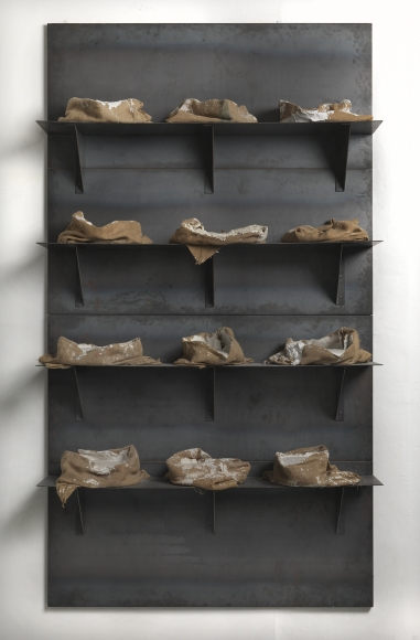 Jannis Kounellis,Untitled,1999,plates, iron shelves, bags and plaster,142 x 79 x 22 inches,