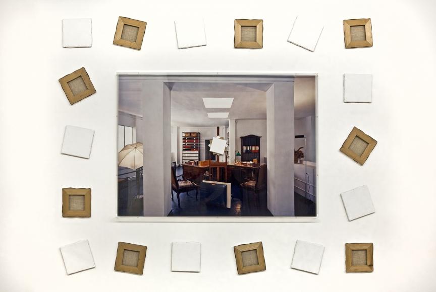 Giulio Paolini,Studio per Synopsis,1998,one photograph, eighteen paintings, Plexiglas,70 7/8 x 86 5/8 inches