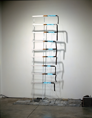Pier Paolo Calzolari, Without Title, 1971, metal structure, neon lights, and mixed media 130 x 59 x 14 in.