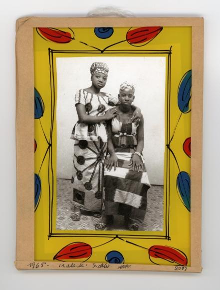 Malick Sidibé, untitled, 1965, vintage gelatin silver print, paint, glass, cardboard, tape, string, 7 1/8 × 5 ¼ in.