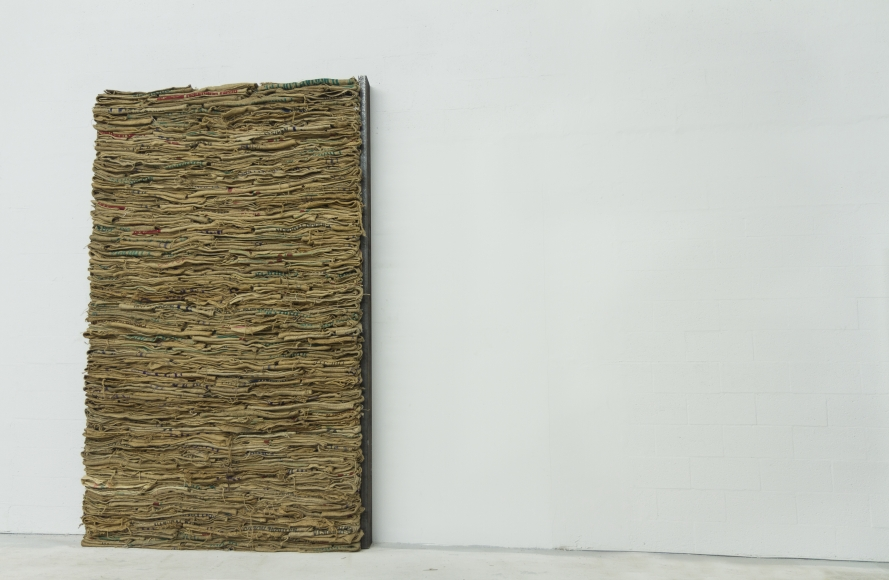 Jannis Kounellis,Untitled, 1985, burlap sacks, 130 x 83 in.