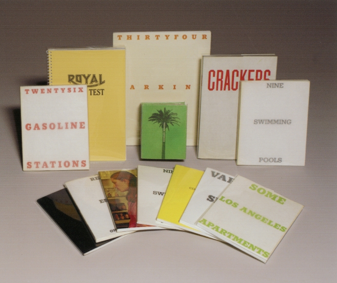 Ed Ruscha, 13 Artist's Books, largest: 10 × 8 × 1/8 in.; smallest: 4 5/8 × 3 3/4 × 1 3/4 in. Thirtyfour Parking Lots, 1974; Real Estate Opportunities, 1970; Royal Road Test, 1980; Twentysix Gasoline Stations, 1969; Crackers, 1969; Hard Light, 1978; Various Small Fires and Milk, 1970; Some Los Angeles Apartments, 1970; A Few Palm Trees, 1971; Colored People, 1972; Nine Swimming Pools and a Broken Glass, 1976; Nine Swimming Pools and a Broken Glass, 1968; Edward Ruscha (Ed-Werd RewShay) Young Artist, 1972