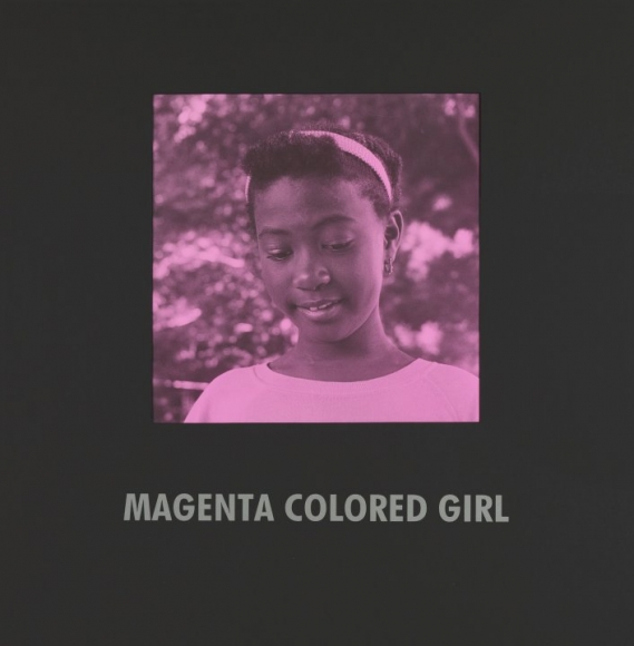 Carrie Mae Weems,Magenta Colored Girl, 1997, silver print with text on mat, 31 1/2x 31 1/2inches