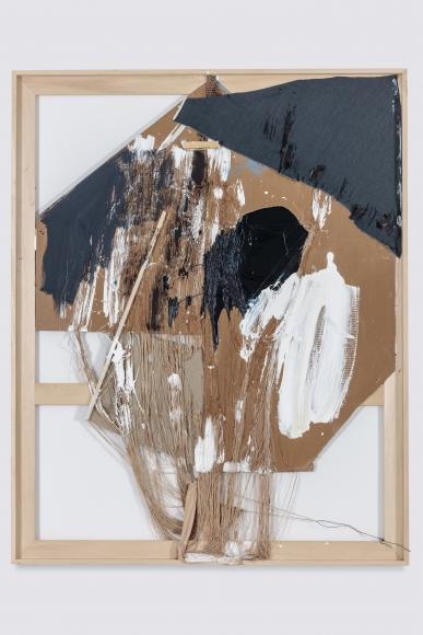 Rosy Keyser, String (Clocking Eye), 2017, oil, acrylic enamel, string, cardboard, wood, and linen, 81 × 64 in.