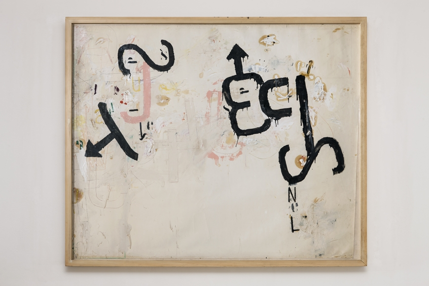 Jannis Kounellis,Untitled,1960,mixed media on paper laid down on canvas,63 x 75 inches