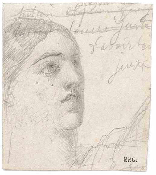 """""""Visage de femme de trois quarts (étude pour Sainte Geneviève ravitaillant Paris) (Woman's Face Seen from Three Quarters [Study for Saint Genevieve Provisioning the Parisians])"""", 1898"""