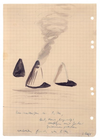 """""""Incense made from Polke: blood, hair, fingernails, calluses, baked with sugar. Spread smell of Polke"""", 1968"""