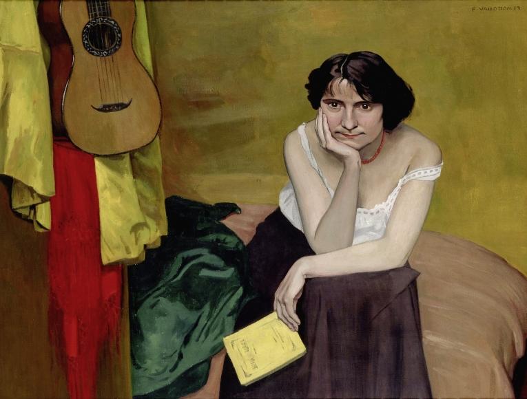 """Femme brune assise de face, avec guitare"", 1913"