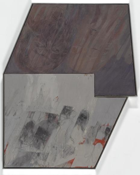 """Untitled"", 2014 Oil, oil crayon, enamel and acrylic medium on fabric"