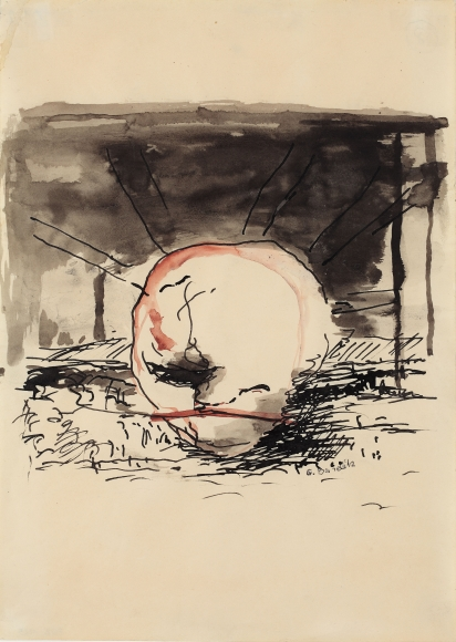 """""""G."""", 1961 Ink, gouache on paper"""