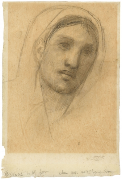 """""""Tête de femme (étude pour L'Enfance de Sainte Geneviève) (Head of woman [Study for The Childhood of Saint Genevieve])"""", ca. 1876"""