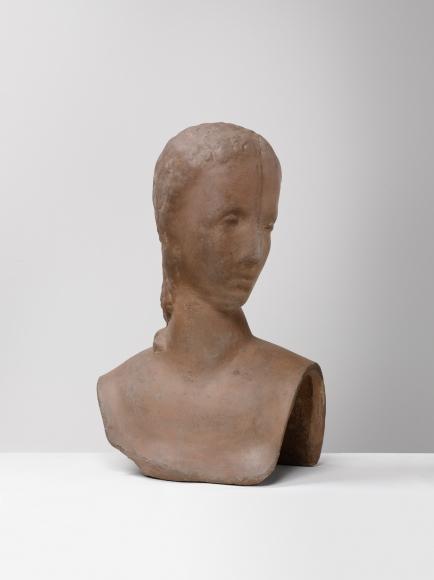 """""""Kopf der Schreitenden (Mädchenkopf sich umwendend)"""", 1913-1914"""
