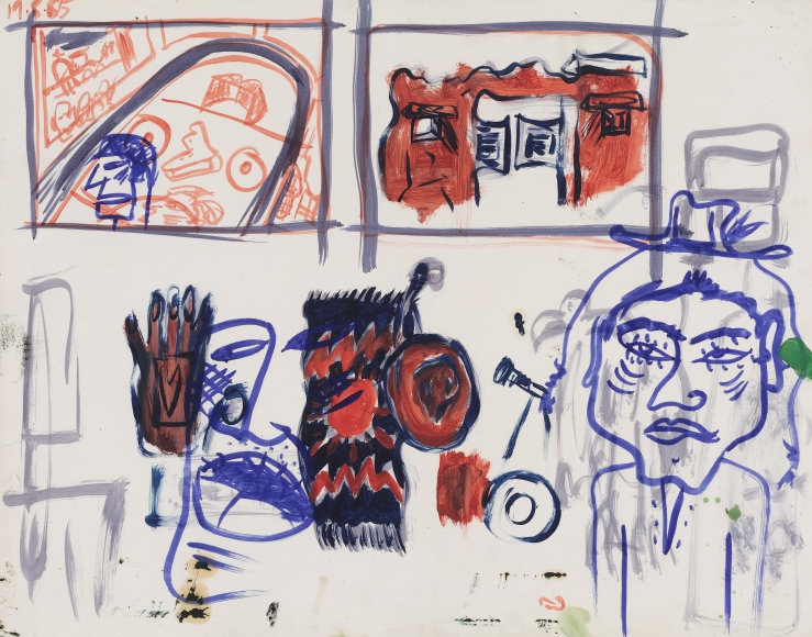 """""""Untitled"""", 1985 Oil and ink on paper"""