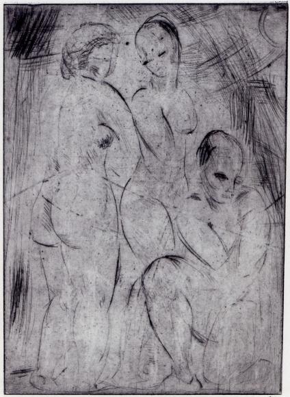 """""""Drei Frauen, zwei stehend, eine kniend"""", 1914"""