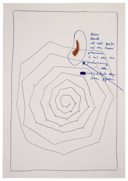 """""""This stain appeared much later on the paper. But it has lent the [un]intended effect to the drawing"""", ca. 1967-1968"""