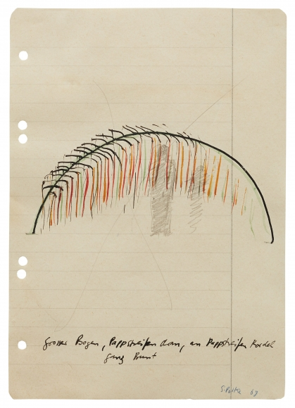 """""""Large arch, cardboard straps, cardboad straps on cord. Very colourful"""", 1968"""