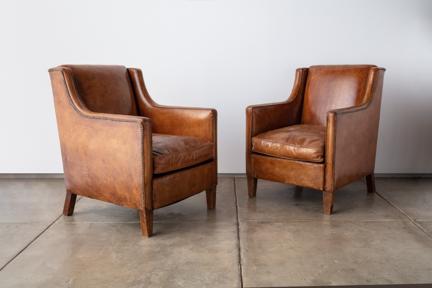Pair of Swedish Leather Lounge Chairs