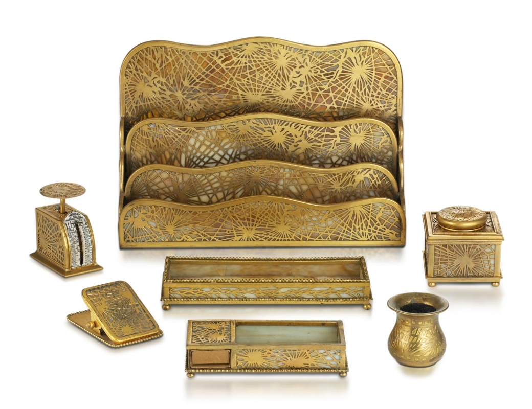 Pine Needle Desk Set in Gold Finish
