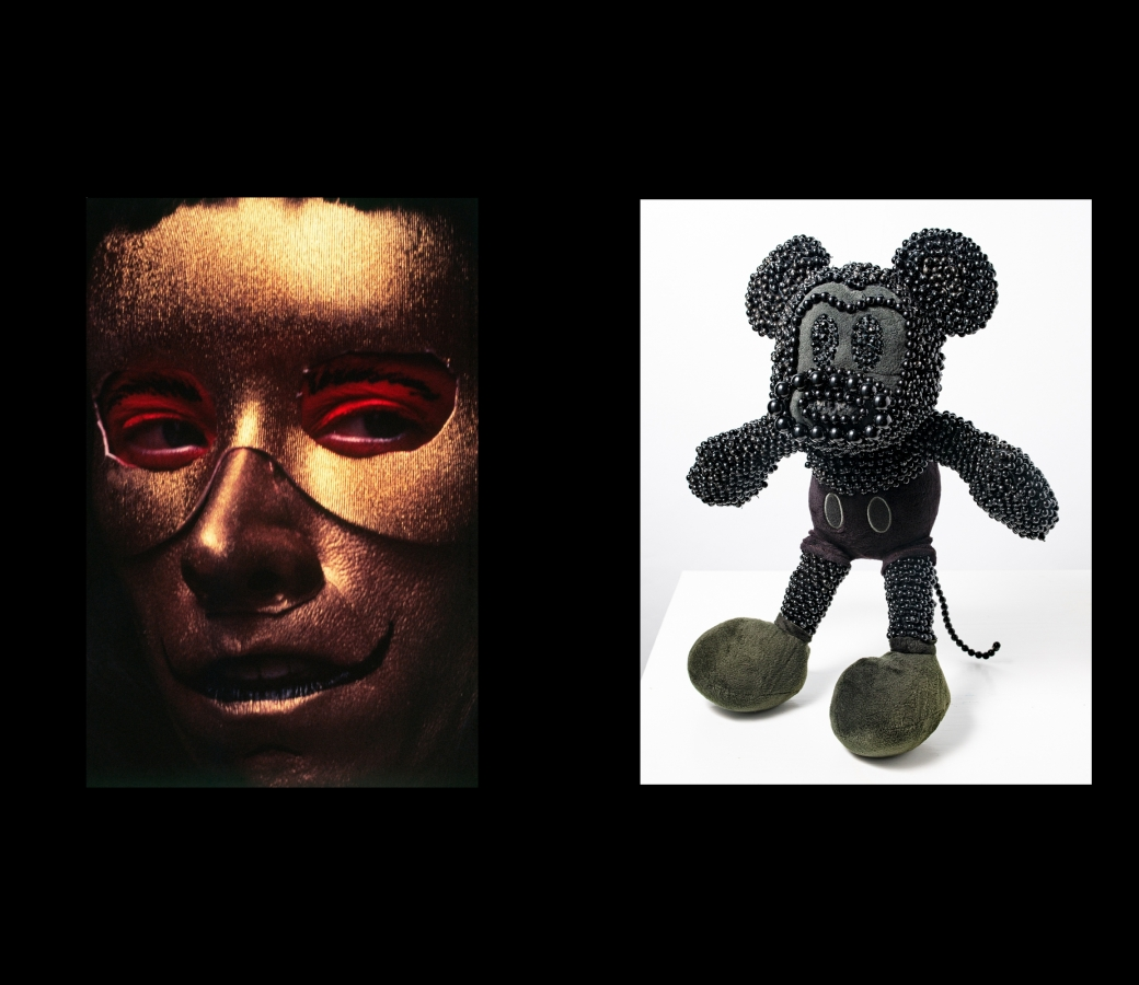 Left: Cindy Sherman Untitled, 1996 Chromogenic color print, up close portrait of gold figure Right: Kenya (Robinson)  [redacted], 2020, beaded Mickey Mouse sculpture
