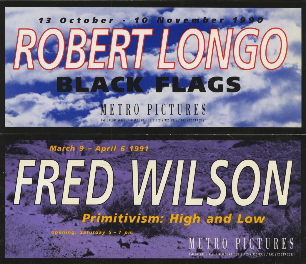 Robert Longo 1990 invitation and Fred Wilson 1991 invitation