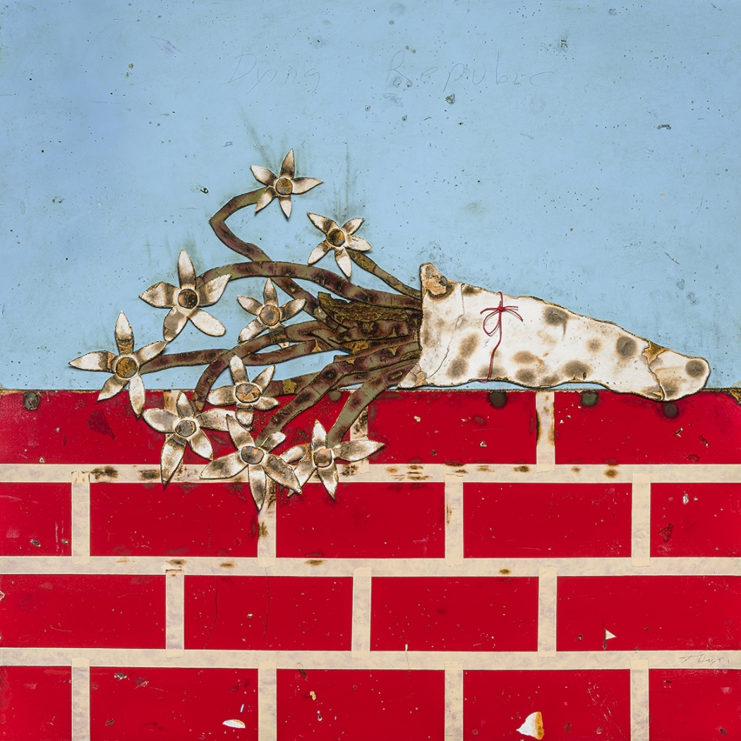 cartoonish trompe l'oeil painting of burnt flowers on a brick wall