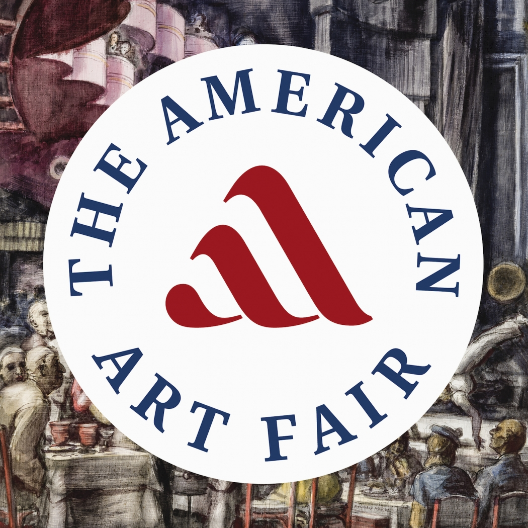 "Circular logo of The American Art Fair, with a stylized read ""paint stroke"" A in the middle of the circle, over a tempera by Reginald Marsh titled ""Cabaret."""