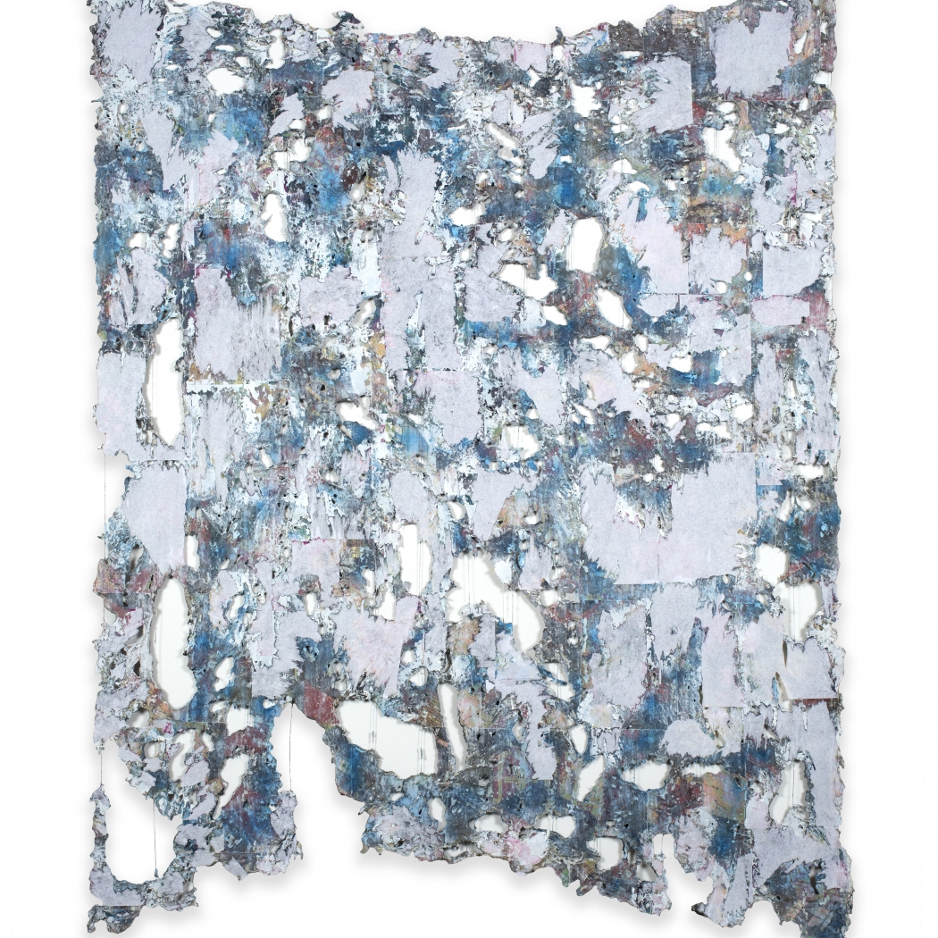 Bloom, 2019, Mixed Media, Deconstructed quilt, hand stitching, image transfer, acrylic and spray paint, 78 x 61 inches