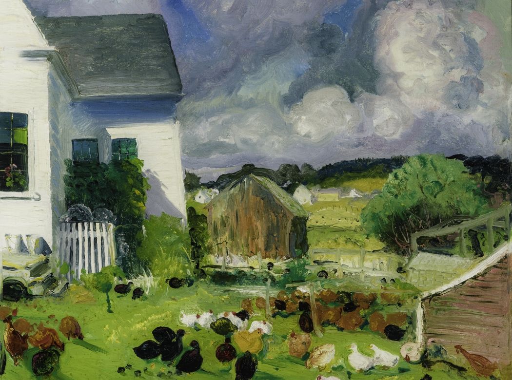 """Entrance portal to Hirschl & Adler Galleries inventory, featuring painting by George Bellows (1882–1925), """"Grammy Ames House, Matinicus, Maine,"""" 1916. Oil on panel, 18 x 22 in."""