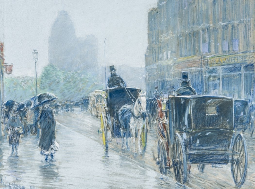 """Entrance portal to Hirschl & Adler Galleries inventory, featuring a detail of a pastel by Childe Hassam (1859–1935), """"A Wet Day on Broadway"""" (1892, pastel on paper, 18 x 21 7/8 in.)."""