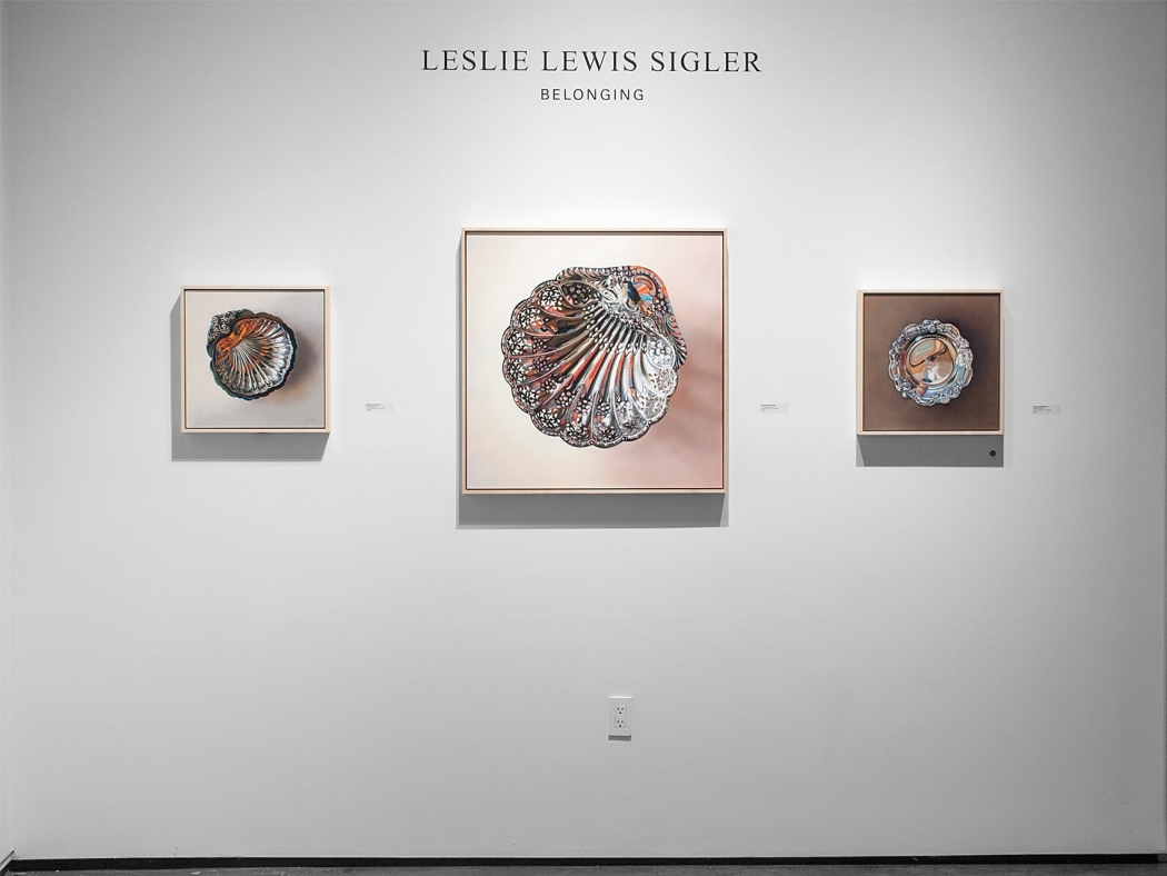 Installation photograph of LESLIE LEWIS SIGLER: Belonging with Angela Perko in background